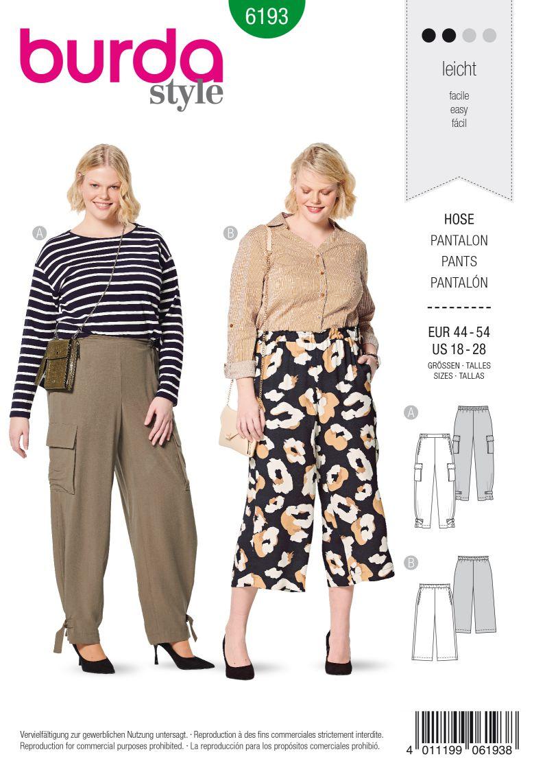 Burda 6193 AB Pants – Waistband with elastic casing  – Forward side seam – Wide legs