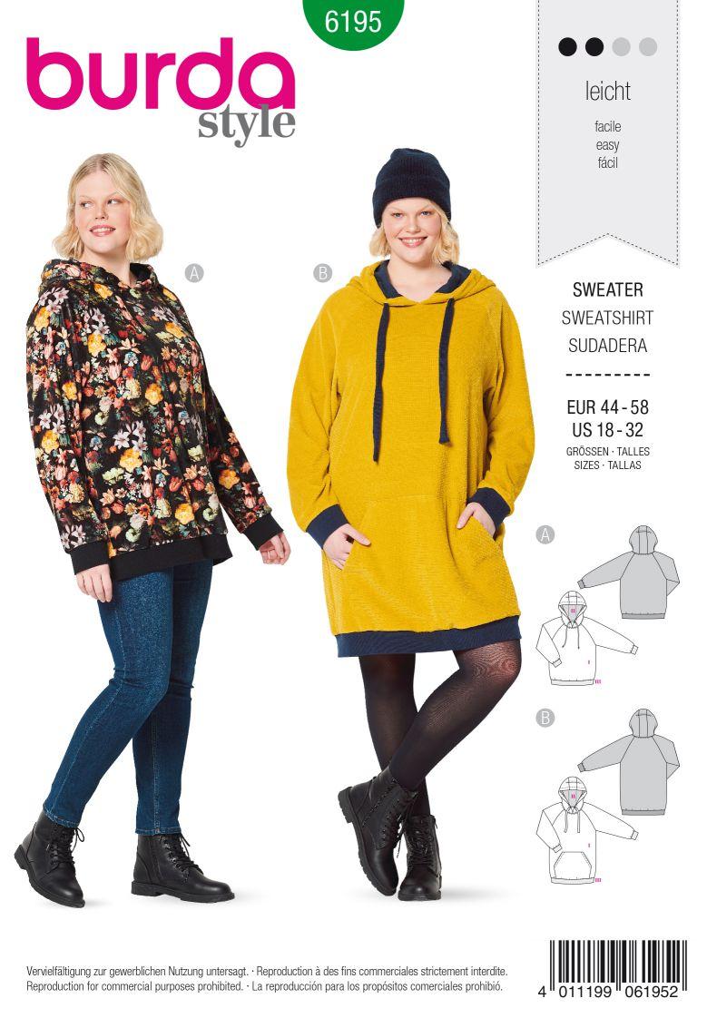 Burda 6195 AB Sweater with hood – Hoodie – Raglan sleeves