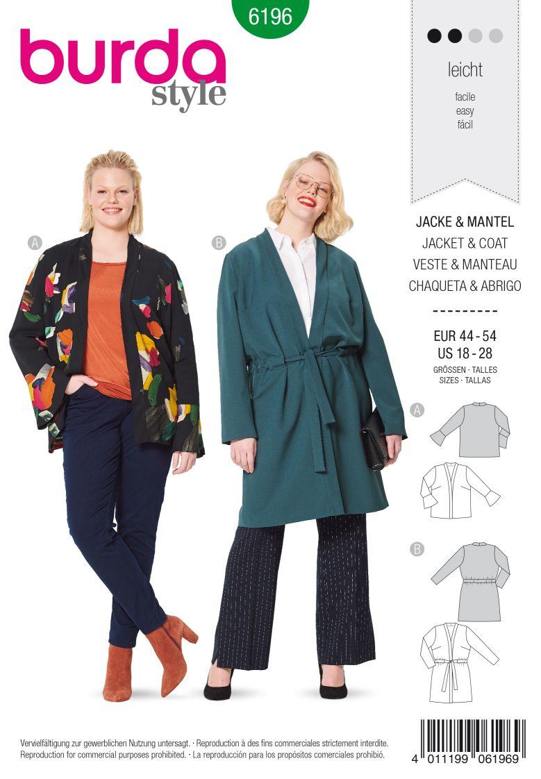 Burda 6196 AB Jacket – Coat – No fastening