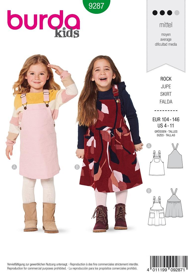 Burda 9287 AB Bibbed skirt – Pinafore