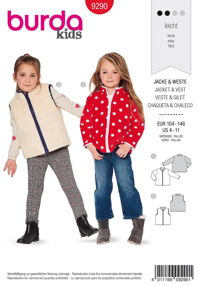 Burda 9290 AB Jacket – Vest  – with a zipper – Bound edges