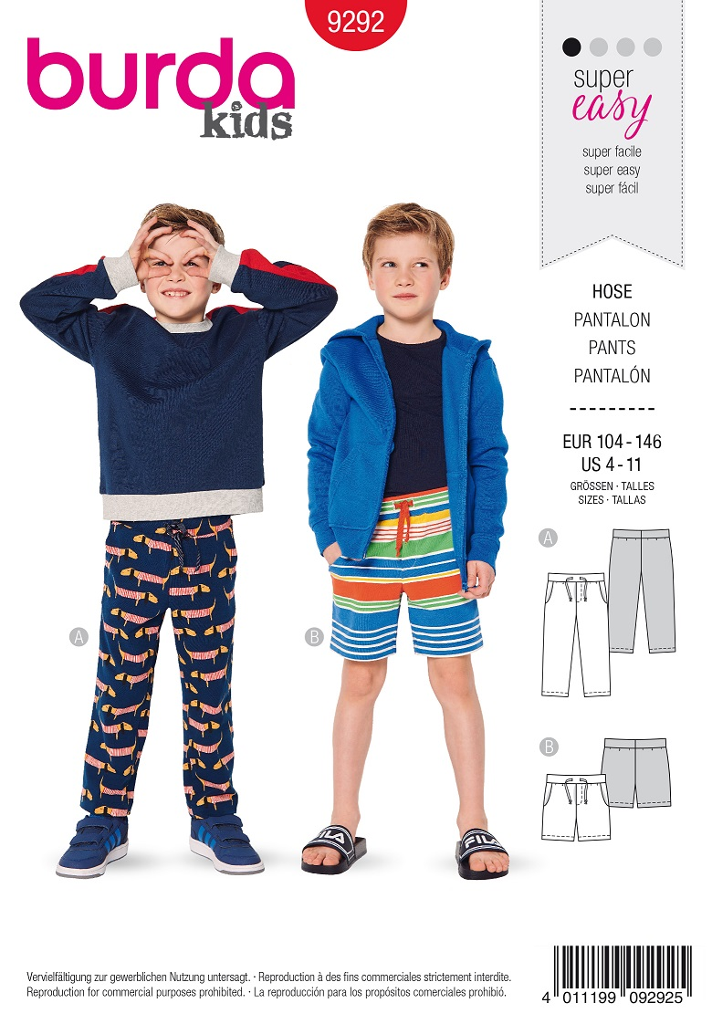 Burda 9292 AB Trousers/pants – Shorts – Stretch waistband