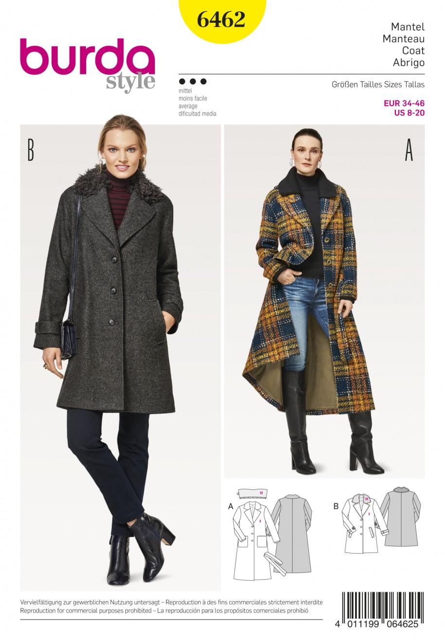 Burda Style Pattern B6462 Misses' Fur Collar Coat