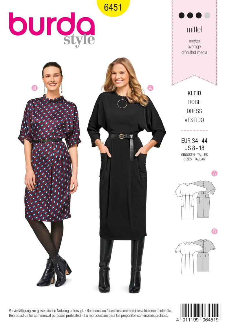 Burda 6451 Dress with Integral Sleeves – Back Button Fastening