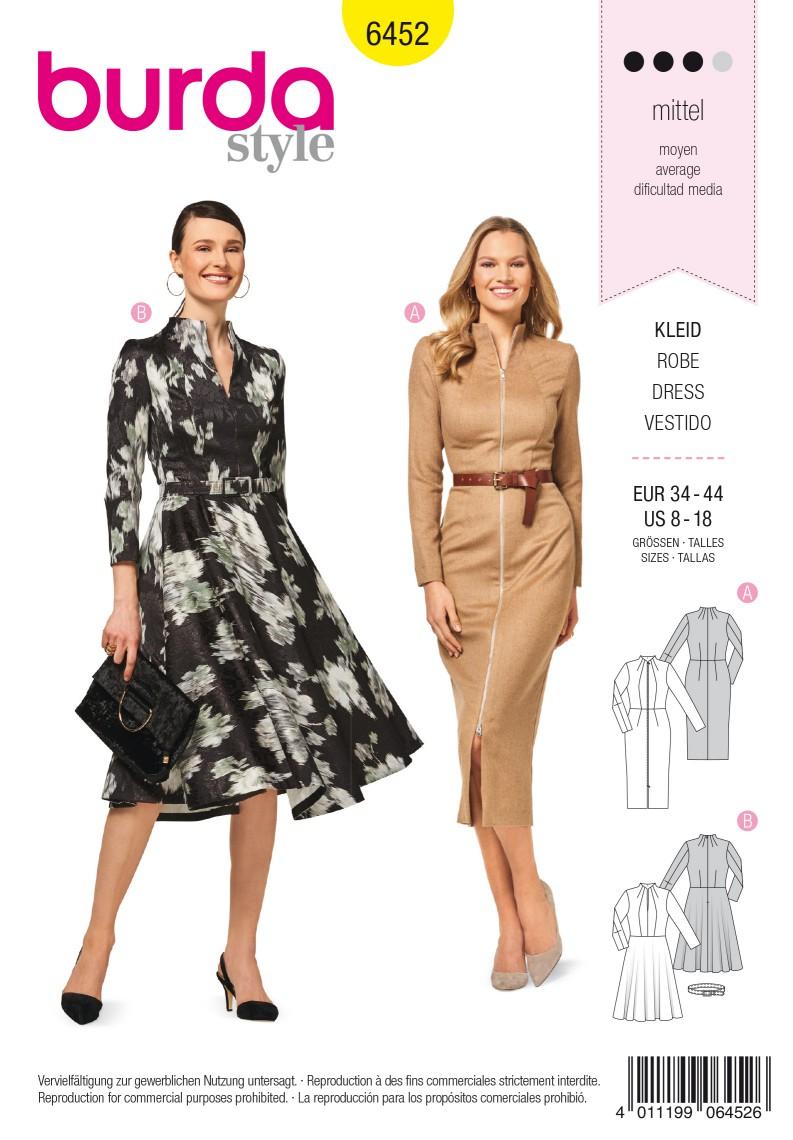 Burda 6452 Dress – Narrow Skirt – Bell-shaped Skirt – Vent – Zip Fastening