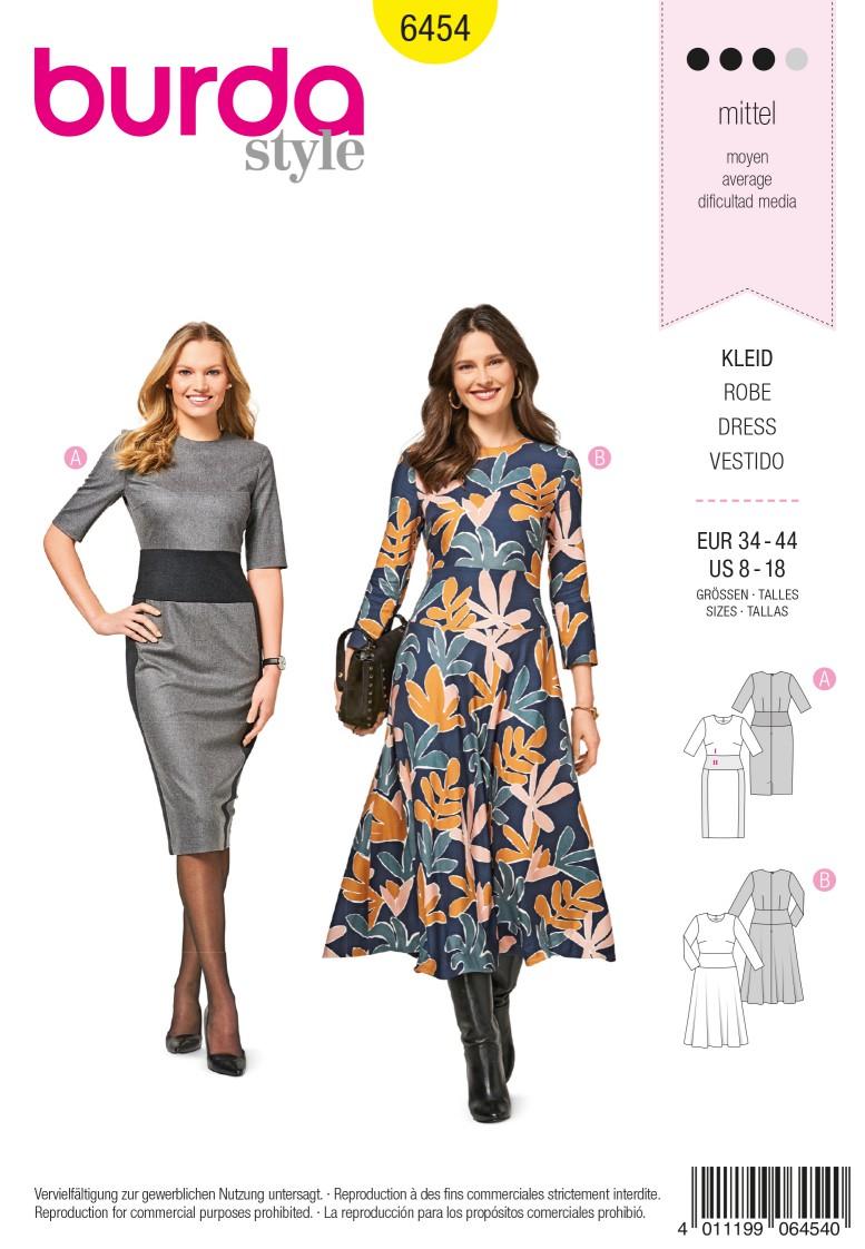 Burda 6454 Dress – Hip Band –  Narrow Skirt –  Bell-shaped Skirt