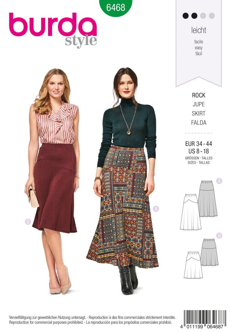 Burda 6468 Skirt with Elastic Waist – Flared – Shaped Yoke