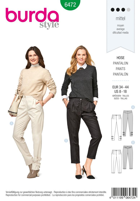 Burda 6472 Pleated Trousers/Pants – Back Yoke – Roll-up Tabs – Hem Turn-up