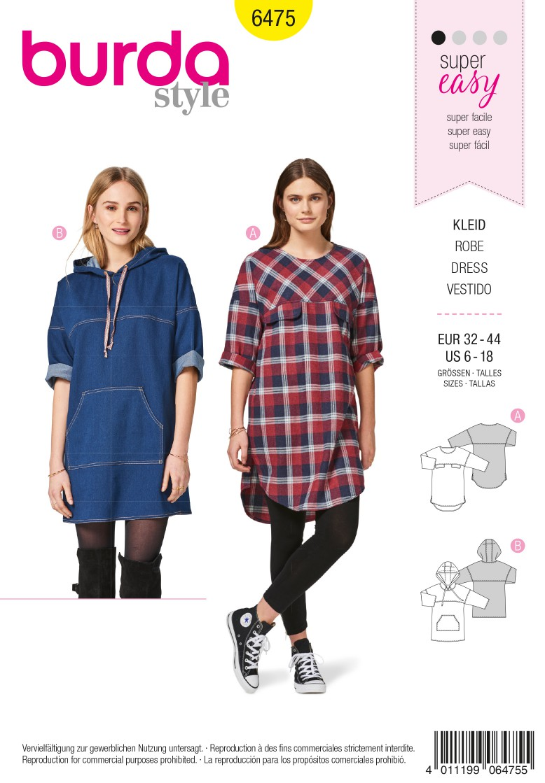 Burda 6475 Mini Dress – Hooded Dress – Yoke – Overcut Shoulders