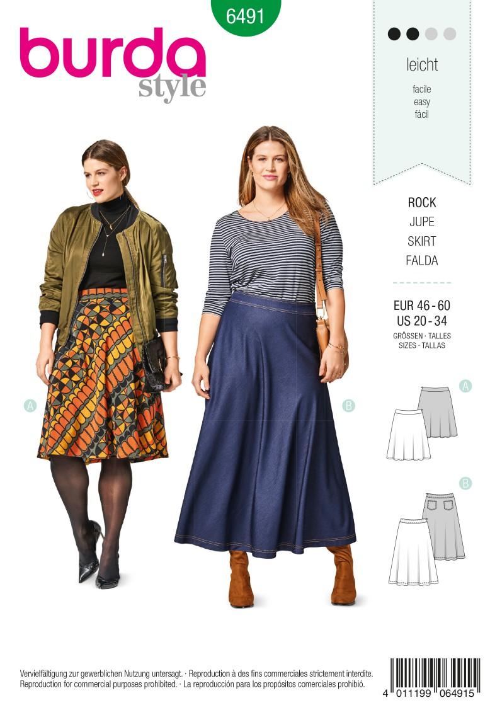 Burda 6491 Flared Skirt – Bell-shaped – Shaped Waistband