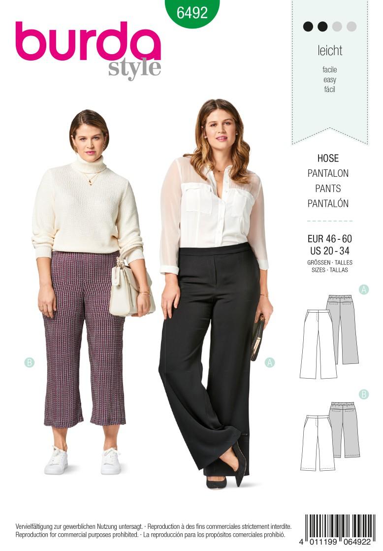 Burda 6492 Trousers/Pants – 3/4 Trousers/Pants – Back Elastic Waist – Back Yoke with Pockets in Seam