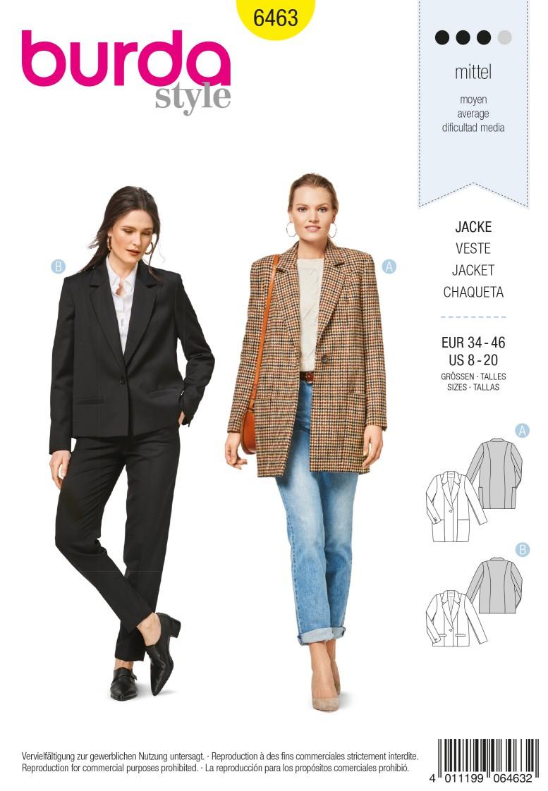 Burda 6463 Wide Cut Jacket – Blazer – Long Lapels