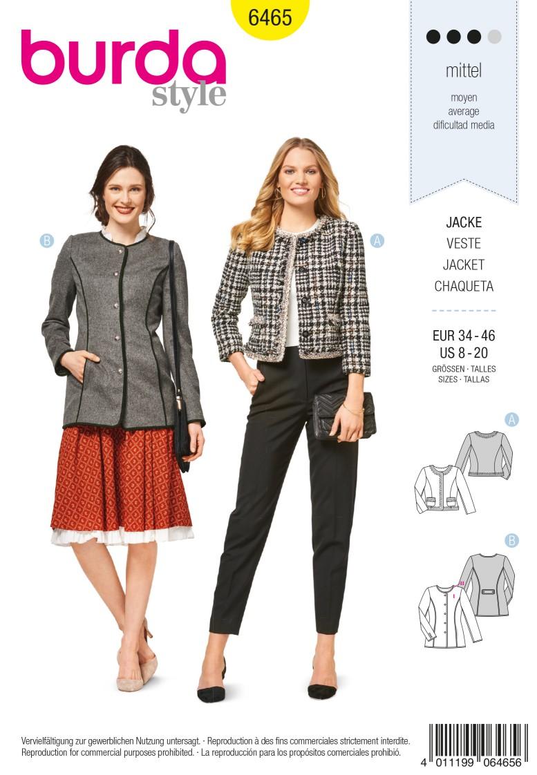 Burda 6465 Jacket – Blazer – Parisian Style – No Collar