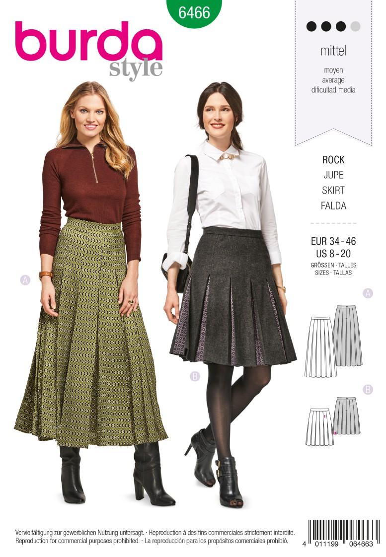 Burda 6466 Pleated Skirt with Waistband – Set in Pleat Underlays
