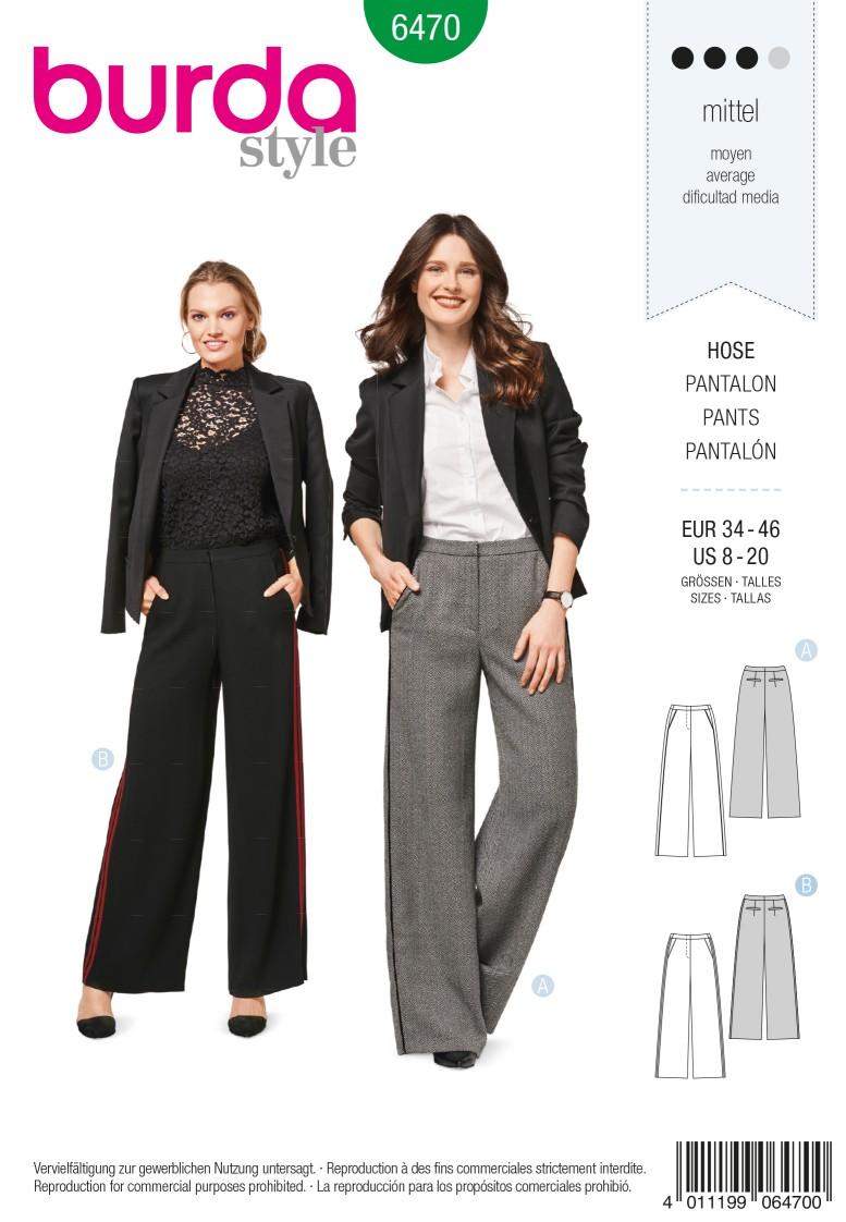 Burda 6470 Trousers/Pants with Shaped Waistband – Forward Side Seams – Straight Leg