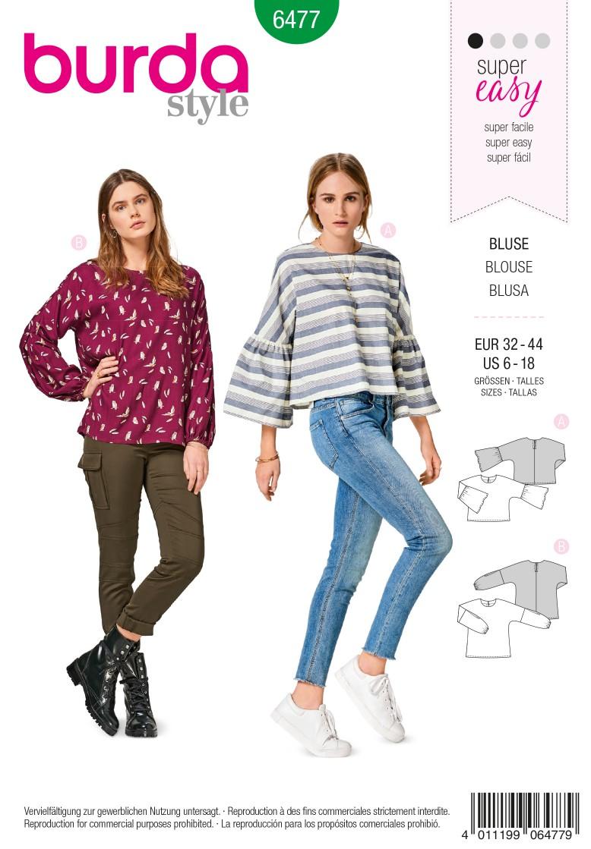 Burda 6477 Blouse Cut with Integral Sleeves – Bell Sleeves – Sleeves with Elastic Casing