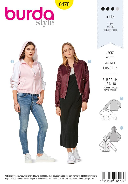 Burda 6478 Jacket – Blouson – Hood –  Hem with Elastic Casing