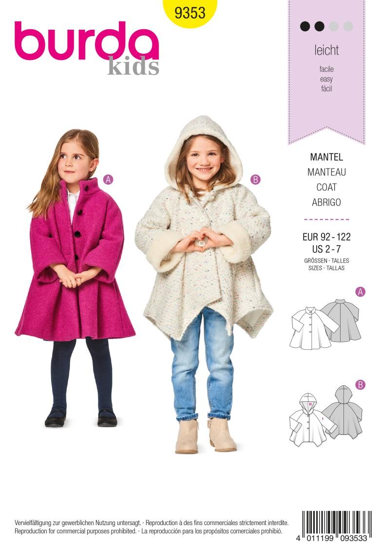 Burda 9353 Coat – A-Line – Hood – Raglan Sleeves – Handkerchief Hem