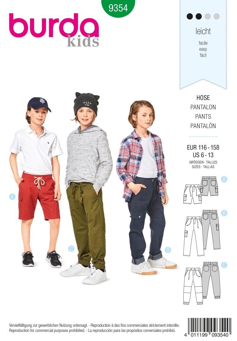 Burda 9354 Trousers/Pants – Shorts –  Elastic Waist – Hip Yoke Pockets