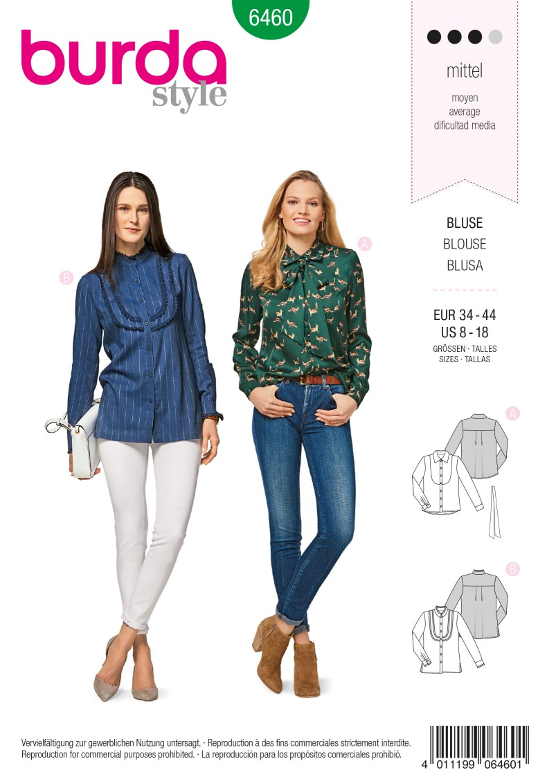 Burda 6460 Shirt Blouse with Plastron – Cuffed Sleeves – Stand Collar – Collar with Tie Band