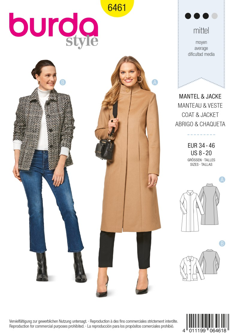 Burda 6461 Coat – Jacket – Panel Seams – Concealed Fastening