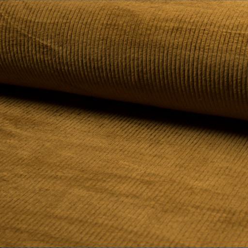 Kordfløyel med stretch bredstripet oker