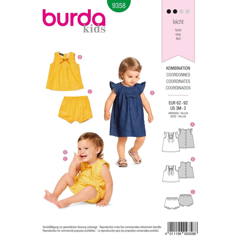 Burda B9358 Baby Dress, Top and Panties