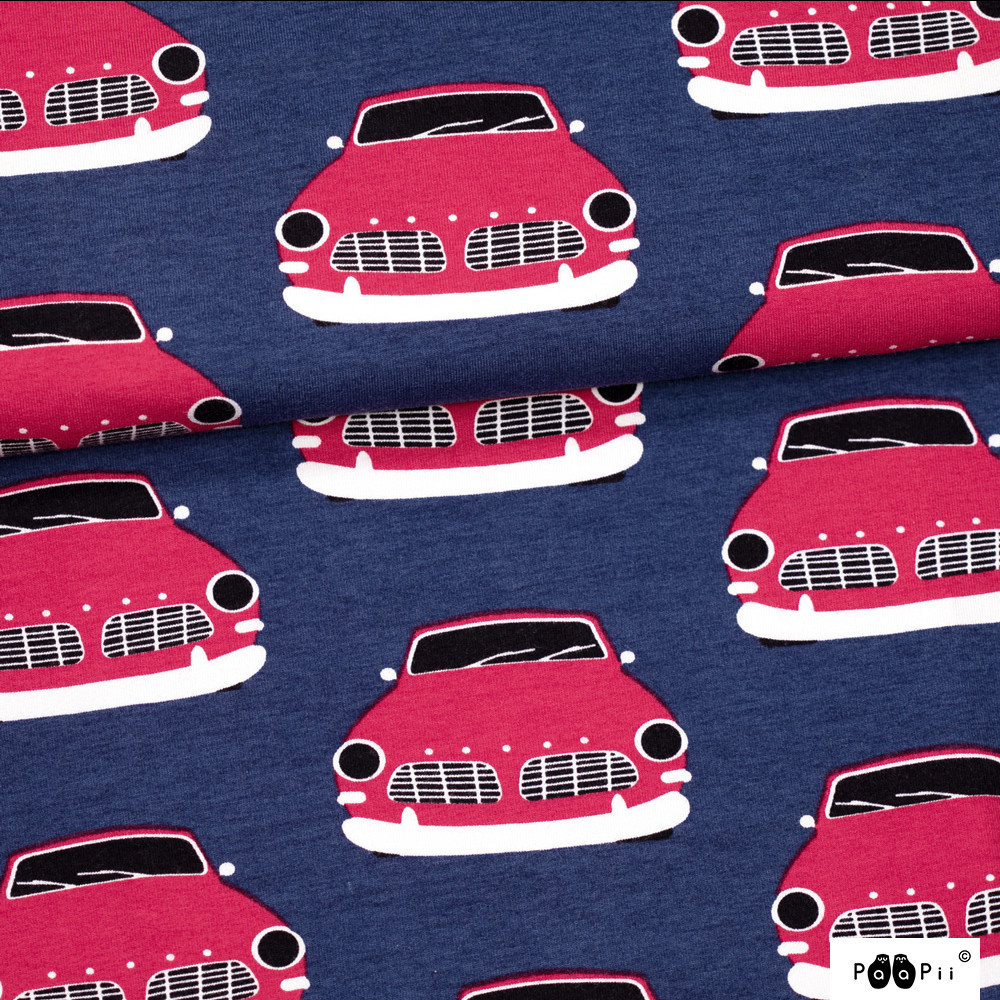 Paapii Design - Vintage cars organic french terry, blueberry - red