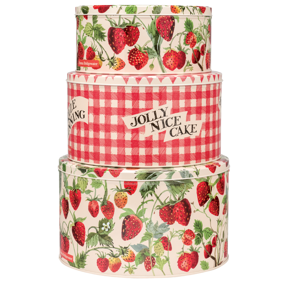 Emma Bridgewater Cake Tins Storage Strawberries Nesting Set of 3 Round Shape