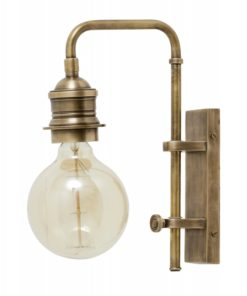 Wall lamp for deco bulb, brass, small