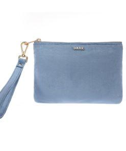 Velvet small pouch, blue