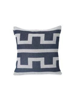 Graphic Recycled Cotton Pillow Cover, Off White/Blue
