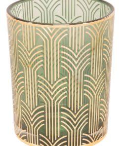 Lysglass m/bueganger grønt, 10x12,5 cm