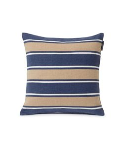 Printed Stripes Recycled Cotton Canvas Pillow Cover, beige/Dk. blue