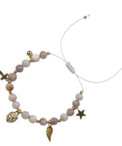 Stone bead bracelet 6 mm w/ charms, grape