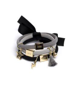 Hair ties 3pk charm combo blacks w/ gold