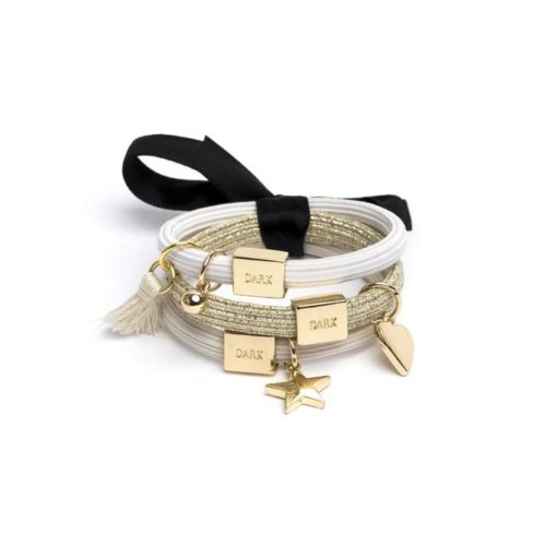 Hair ties 3pk charm combo sands w/ gold