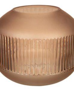 Lysglass rund/stripe frostbrun 17x13 cm