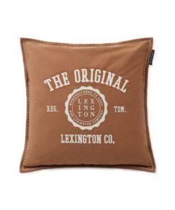 Cotton Twill Logo Message Pillow Cover, dark beige