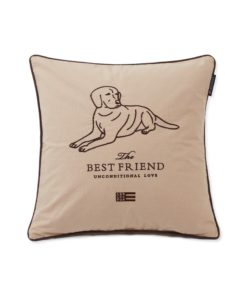 Best Friend Cotton Canvas Pillow Cover, beige