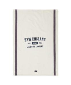 New England Cotton Twill Kitchen Towel, offwhite/blue