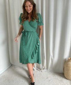 Long Naomi Dress, Forrest Green Flower