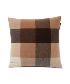 Checked Recycled Wool Pillow Cover, beige/dark gray