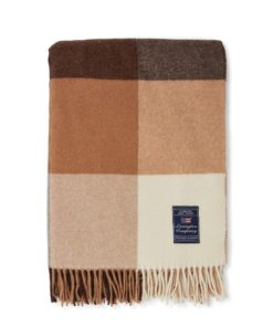 Checked Recycled Wool Throw, beige/dark gray