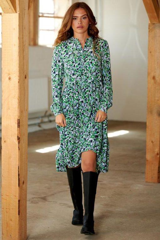 Hira long dress viscose, green mix