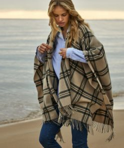 Palma recycled wool blend poncho, beige/green multi check
