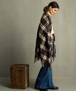 Palma recycled wool blend ponch, brown multi check