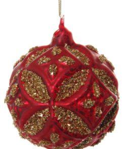Shishi Glass floral ball antique mat red w/gold glitter 8 cm