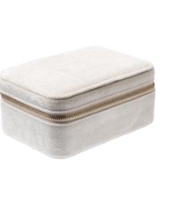 Velvet jewellery box, smykkeskrin offwhite