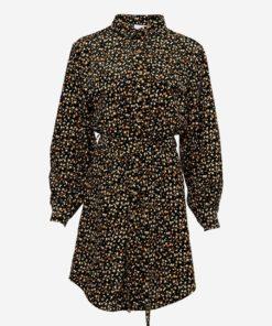 Noella Fleur Shirt Dress, Cotton Black/camel Flower